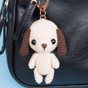 Dog bag keychain charm amigurumi