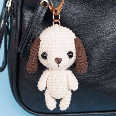 Dog bag keychain charm amigurumi