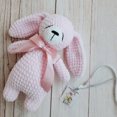 Sleepy bunny amigurumi crochet toy