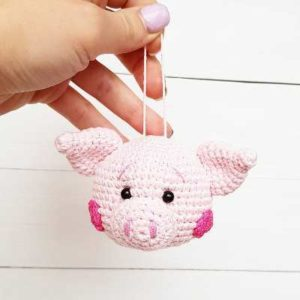 Christmas ornament crochet pig