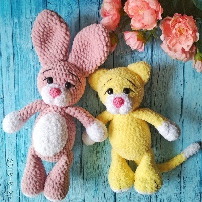Cat and bunny amigurumi