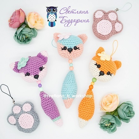 Crochet bag charm fox amigurumi