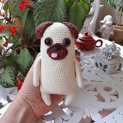 Crochet pug dog amigurumi