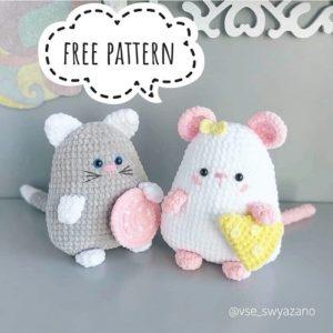 Crochet cat and mouse amigurumi