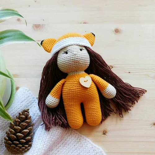 Crochet doll in fox costume