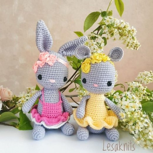 Crochet bunny and mouse