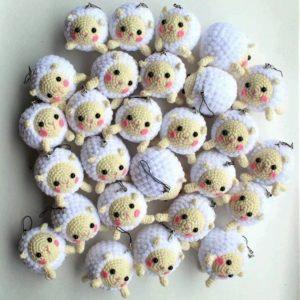 Crochet plush sheep keychain