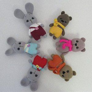 Crochet bunny and bear