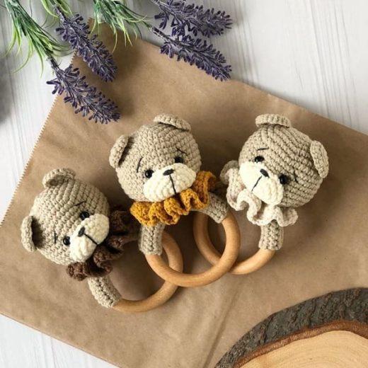Amigurumi bear baby rattle