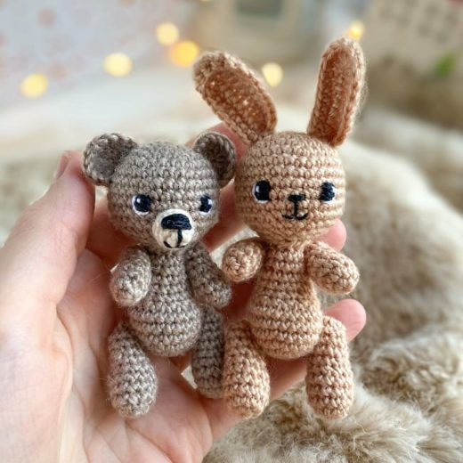 Tiny bear and bunny amigurumi