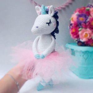 Crochet unicorn ballerina