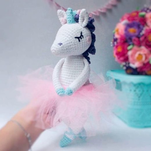 Crochet unicorn ballerina