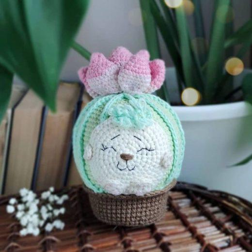 Crochet hedgehog in a pot